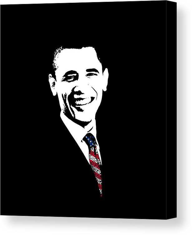 Obama Canvas Print featuring the digital art Obama by War Is Hell Store