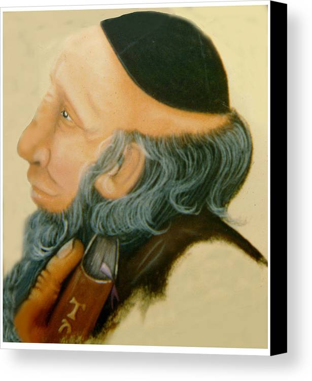 Rabbi Canvas Print featuring the painting Rabbi by Winifred Ann Weishampel