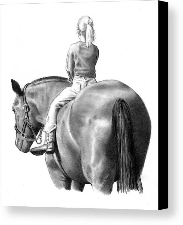 Horse Canvas Print featuring the drawing Riding Bareback No. 2 by Joyce Geleynse