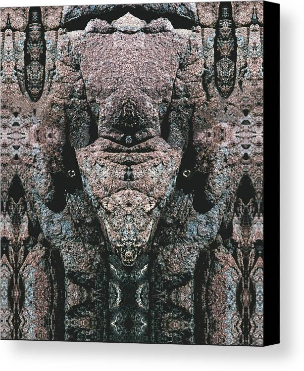Rocks Canvas Print featuring the digital art Rock Gods Elephant Stonemen Of Ogunquit by Nancy Griswold