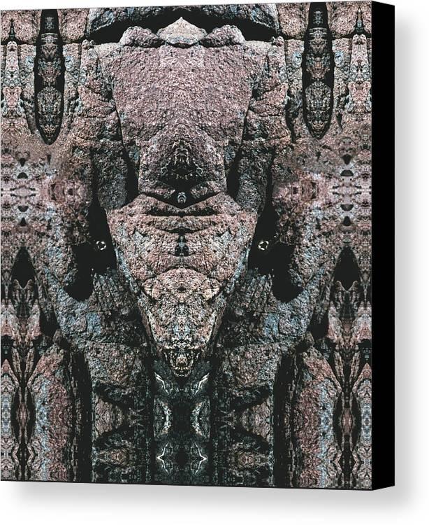 Rocks Canvas Print featuring the digital art Rock Gods Elephant Stonemen Of Ogunquit by Nancy Griswold