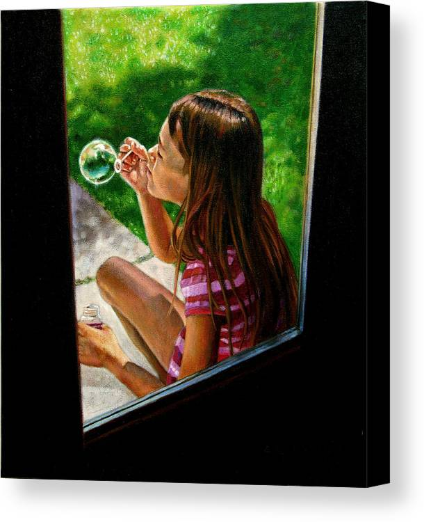 Girl Canvas Print featuring the painting Sierra Blowing Bubbles by John Lautermilch