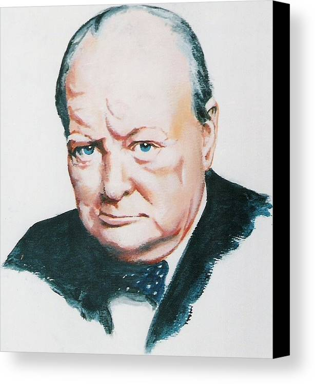 Churchill. Primeminister Canvas Print featuring the painting Sir Winston Churchill by Barry Smith