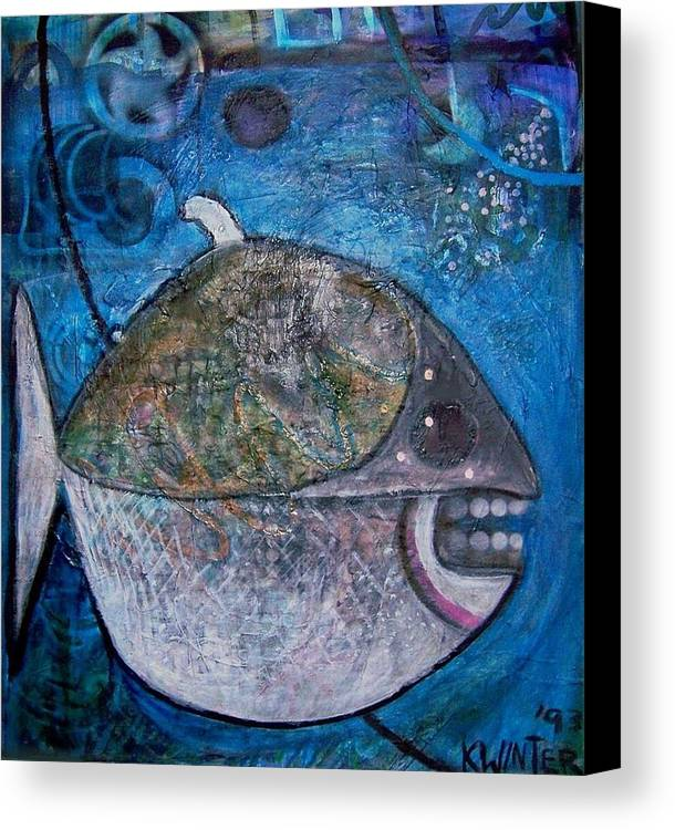 Fish Sea Marine Dentist Floss Canvas Print featuring the mixed media Teeth by Dave Kwinter
