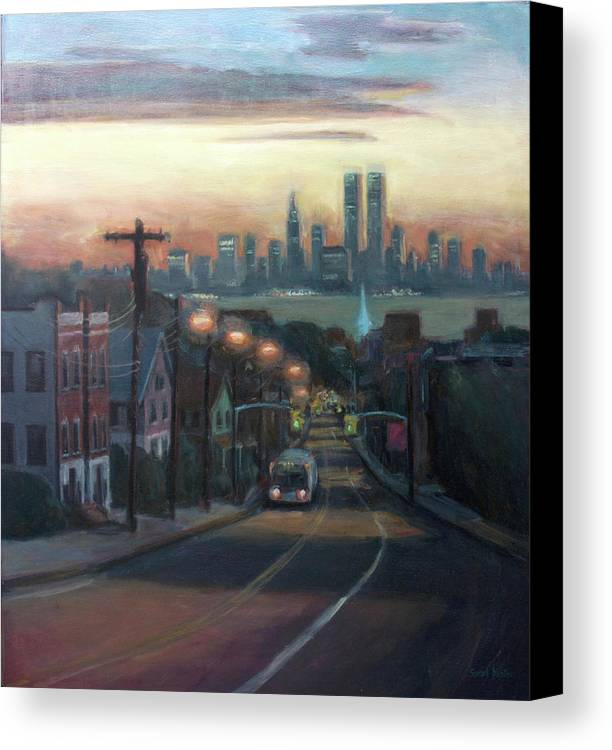 Manhattan Skyline Canvas Print featuring the painting Victory Boulevard At Dawn by Sarah Yuster