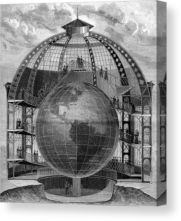 1889 Canvas Print featuring the photograph Great Model Of The Earth by Collection Abecasis/science Photo Library