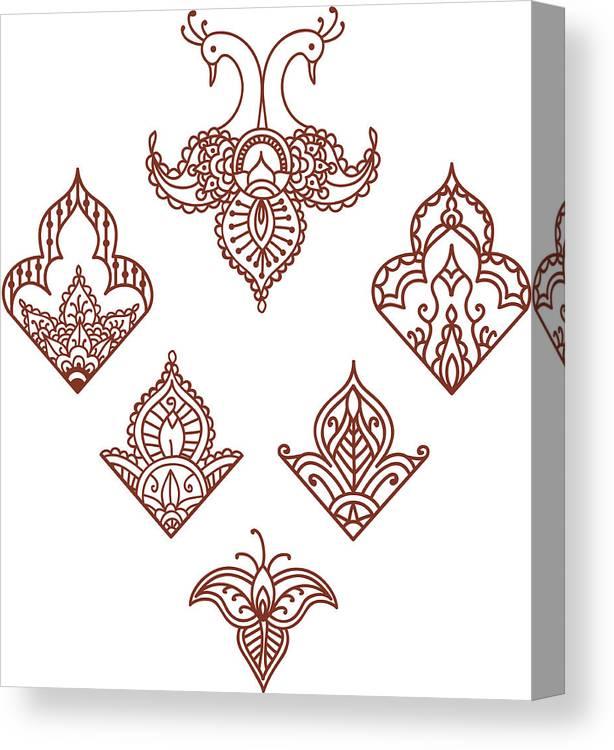 Mehndi Corner Designs (vector) Canvas Print