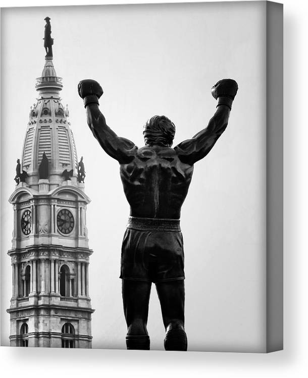 Rocky Canvas Print featuring the photograph Rocky And Philadelphia by Bill Cannon