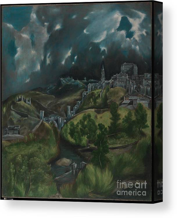 View Of Toledo Canvas Print featuring the painting View Of Toledo by Celestial Images