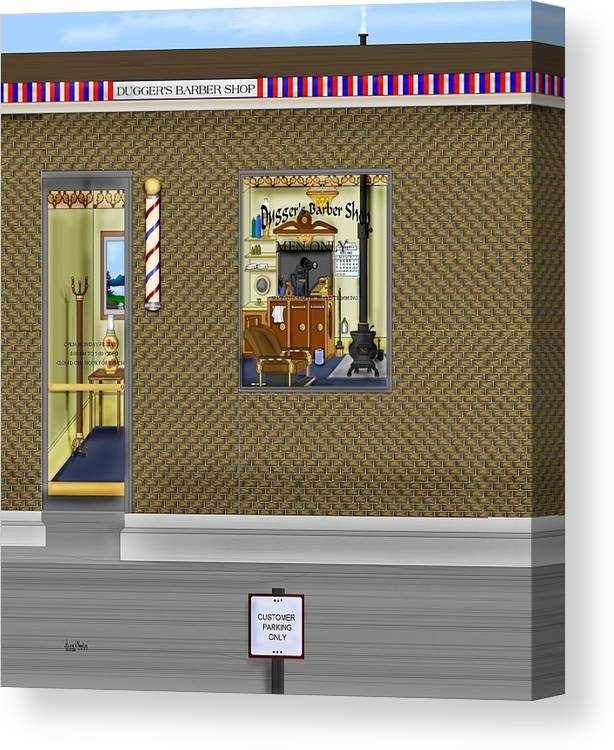 Townscape Canvas Print featuring the painting Dugger's Barber Shop by Anne Norskog