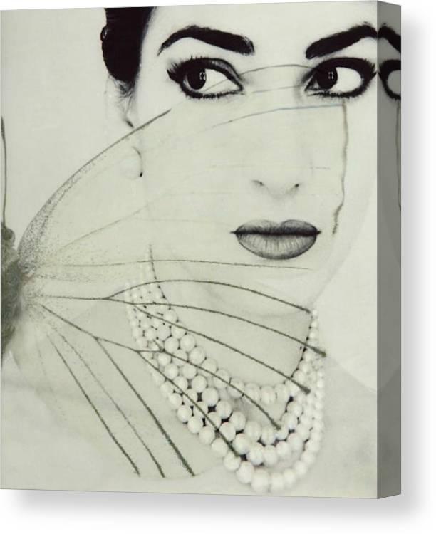 Maria Callas Canvas Print featuring the digital art Madam Butterfly - Maria Callas by Paul Lovering