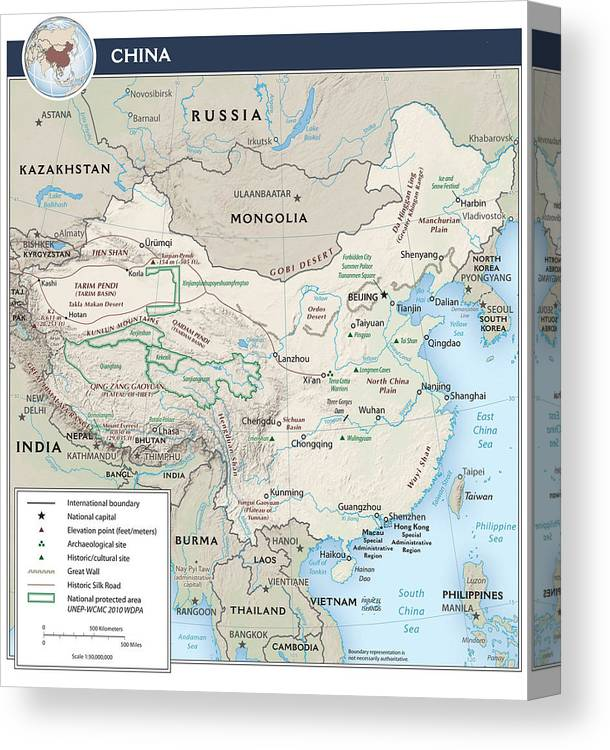 Atlas Canvas Print featuring the mixed media Map Of China 2 by Roy Pedersen