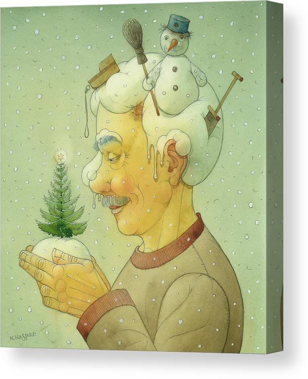 Winter Snow Figure Christmas Tree Holiday Canvas Print featuring the painting Snovy Winter by Kestutis Kasparavicius
