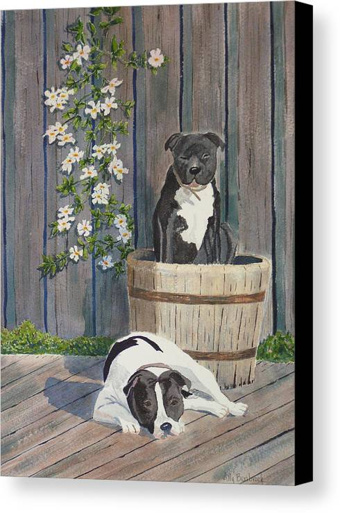 Dog Canvas Print featuring the painting Devilish Duo At Rest by Ally Benbrook