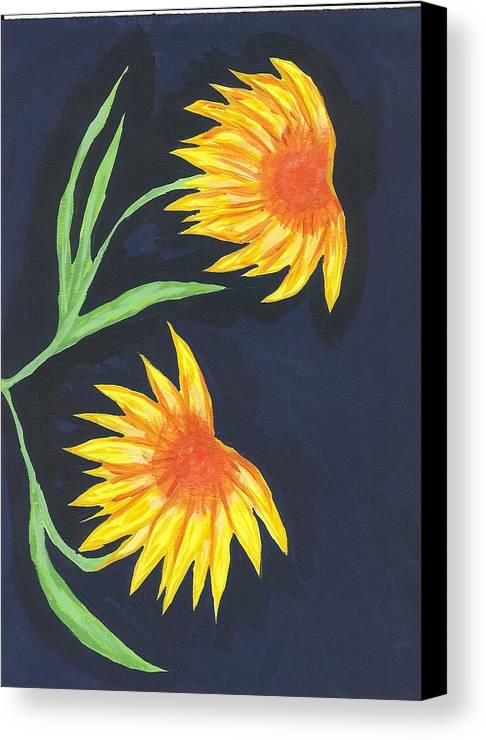 Flower Canvas Print featuring the painting Here Comes The Sun by Laura Lillo