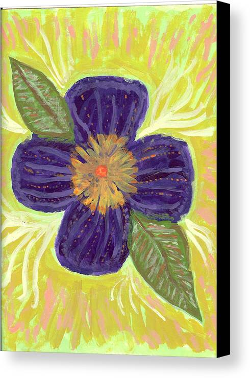 Flower Canvas Print featuring the painting Pea In Pod by Laura Lillo