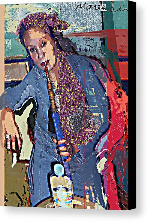 Portrait Canvas Print featuring the mixed media Sheesha by Noredin Morgan