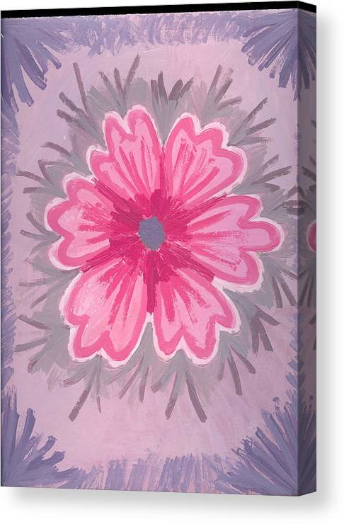 Flower Canvas Print featuring the painting Bubblegum by Laura Lillo