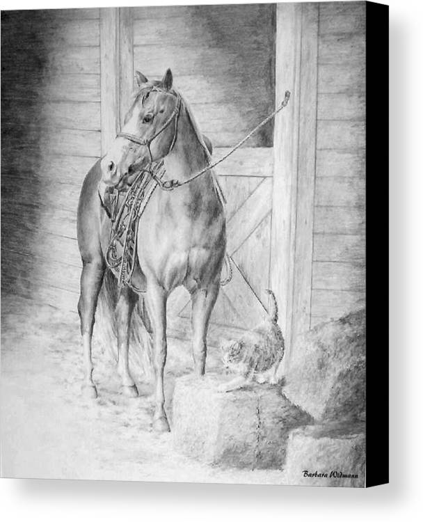Horse Canvas Print featuring the drawing Waiting To Ride by Barbara Widmann