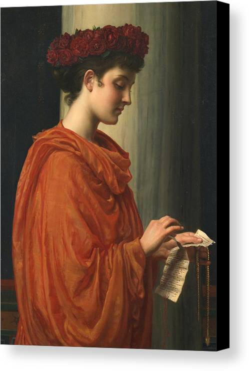 Female; Literature; Poetry; Character; Horace; Odes; Barine; Beauty; Note; Letter; Tearing; Ripping; Profile; Portrait Canvas Print featuring the painting Barine by Sir Edward John Poynter