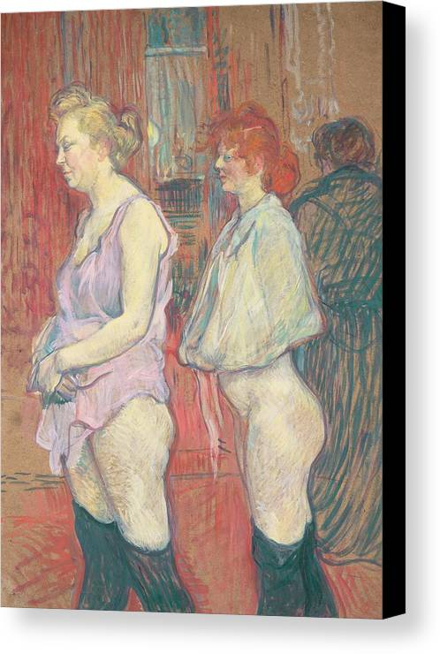 Female; Prostitute; Stocking; Nude; Half; Dressed; Provocative; Seductive; Side; View; Profile; Half; Length; Prostitution; Post-impressionist; Brothel Canvas Print featuring the painting Rue Des Moulins by Henri de Toulouse-Lautrec