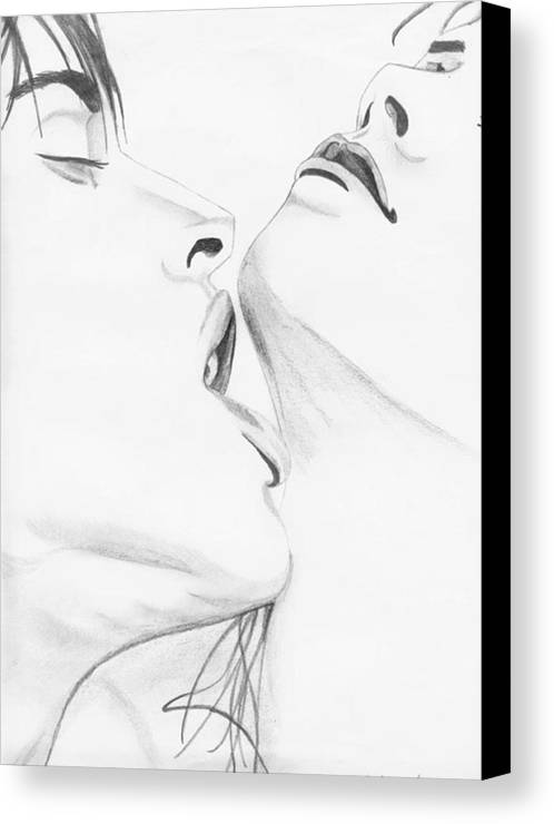 Erotic Canvas Print featuring the drawing 054 by Anthony Seeker