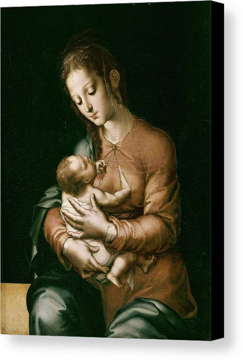Vertical Canvas Print featuring the photograph Morales, Lu�s De 1515-1586. The Virgin by Everett