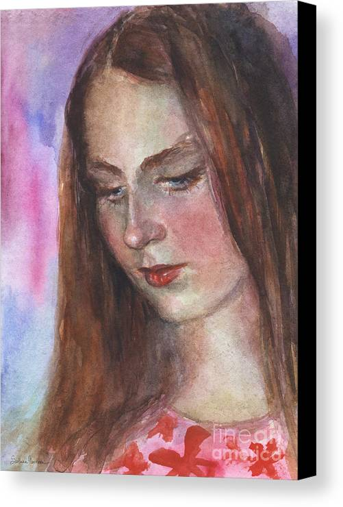 Girl 3 Canvas Print featuring the painting Young Woman Watercolor Portrait Painting by Svetlana Novikova