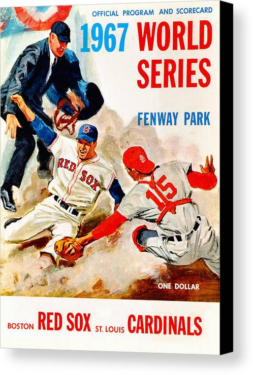 St Louis Cardinals Canvas Print Featuring The Painting 1967 World Series Program By John Farr