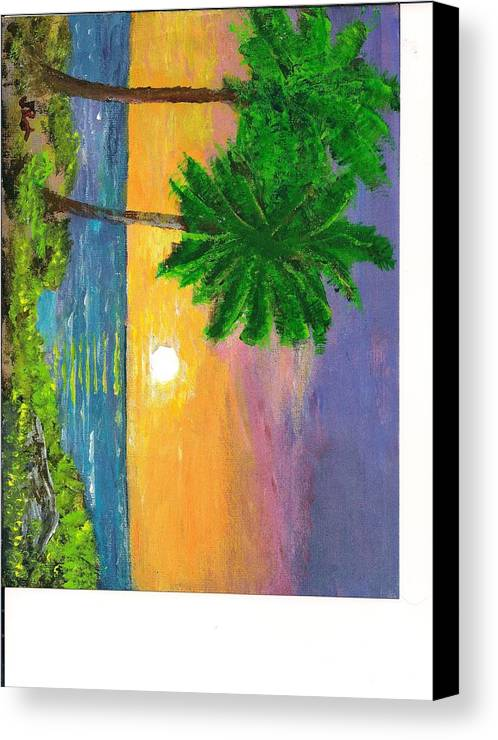 Sunrise Canvas Print featuring the painting sunrise on Florida Beach by June Reynolds