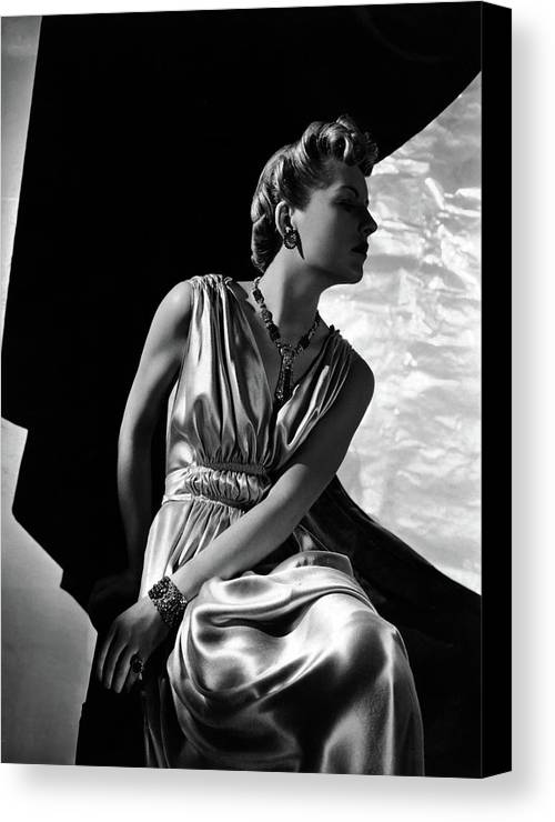 Accessories Canvas Print featuring the photograph A Model Wearing A Piguet Dress by Horst P. Horst