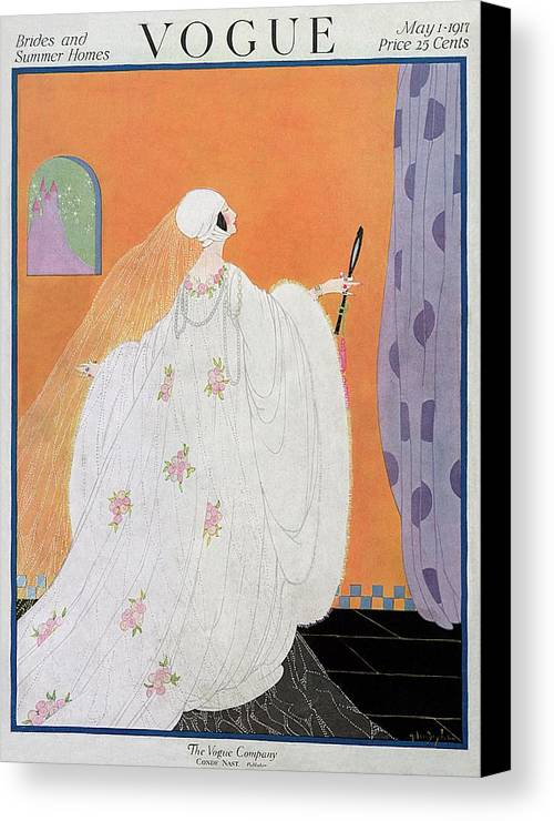 Illustration Canvas Print featuring the photograph A Vogue Cover Of A Bride by Helen Dryden