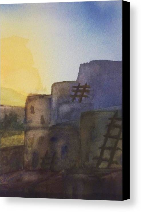 Adobe Canvas Print featuring the painting Adobe Dwellings by Ellen Levinson