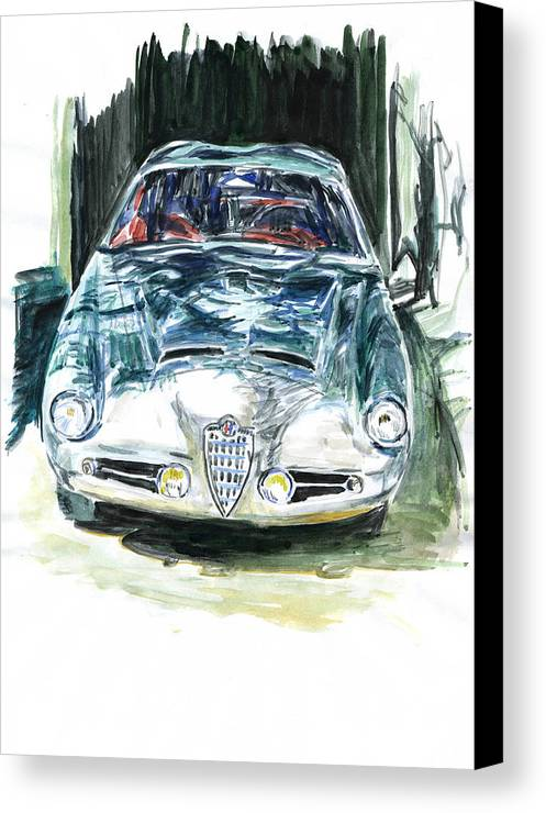 Auto Canvas Print featuring the painting Alfa Romeo by Ildus Galimzyanov