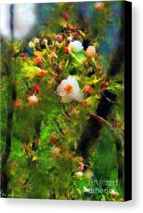 Apple Blossoms Canvas Print featuring the painting Apple Tree In April by RC DeWinter