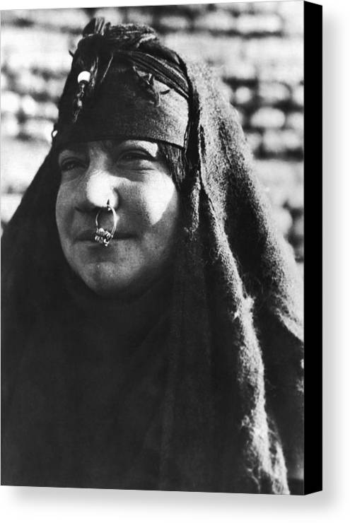 Arab woman with nose ring canvas print canvas art by underwood 1932 canvas print featuring the photograph arab woman with nose ring by underwood archives m4hsunfo