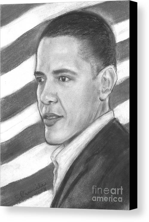 Politician Canvas Print featuring the drawing Barack by Sue Carmicle