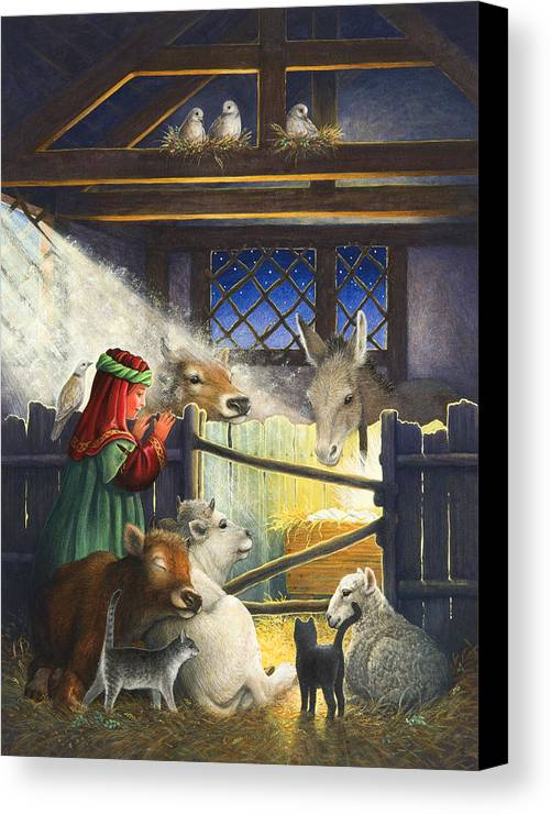Manger Canvas Print featuring the painting Behold The Child by Lynn Bywaters