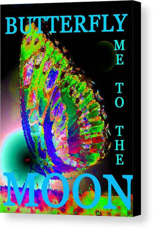 Butterfly Canvas Print featuring the painting Bfmttmoon Word Splash by David Lee Thompson