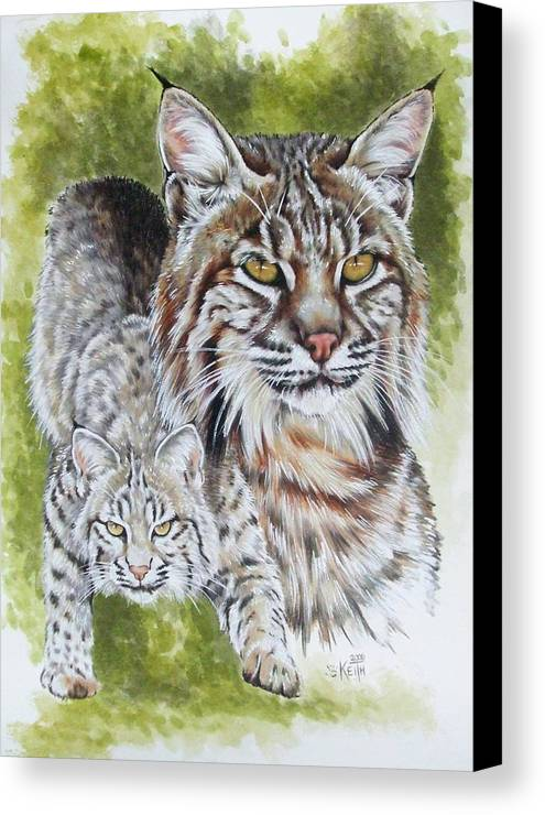 Small Cat Canvas Print featuring the mixed media Brassy by Barbara Keith