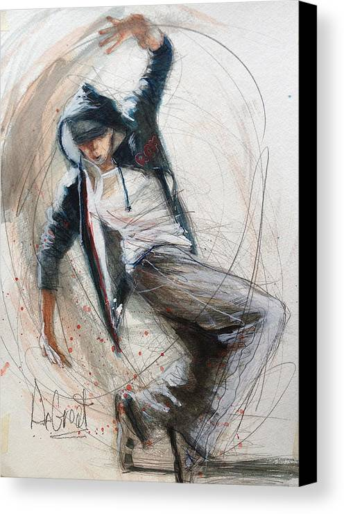 Dancer Canvas Print featuring the painting Break Dancer1 by Gregory DeGroat