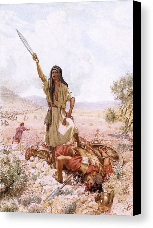Bible Canvas Print featuring the painting David And Goliath by William Brassey Hole