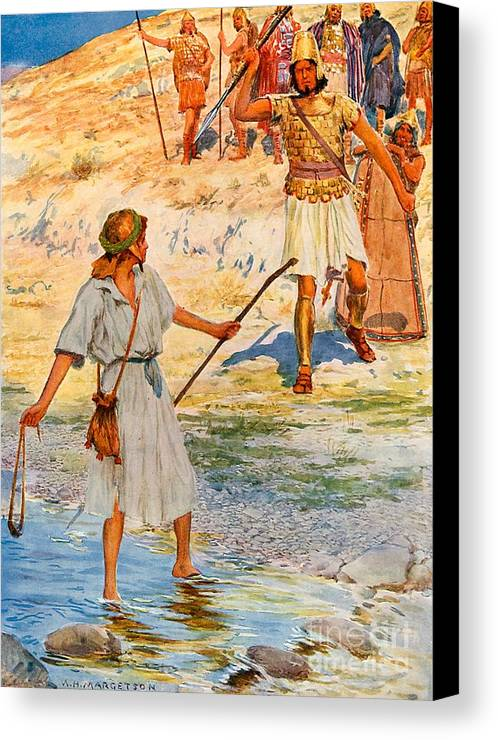 Bible; David; Goliath Canvas Print featuring the drawing David And Goliath by William Henry Margetson