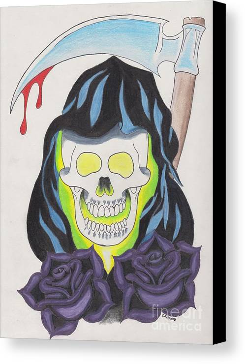 Skull Tattoo Art Cool Dark Red Black Gray Color Color-pencil Pencil Prismacolor Never Flash Rip White Design Blood Roses Death Yellow Green Brown Violet Blue Grim Reaper Cjones Ink Canvas Print featuring the drawing Death by Christopher Jones