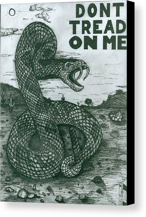Snake Canvas Print featuring the drawing Don't Tread On Me by Richie Montgomery