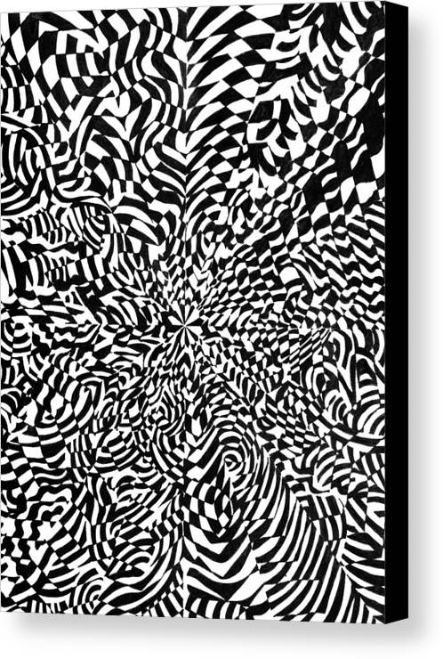 Abstract Canvas Print featuring the drawing Entangle by Crystal Hubbard