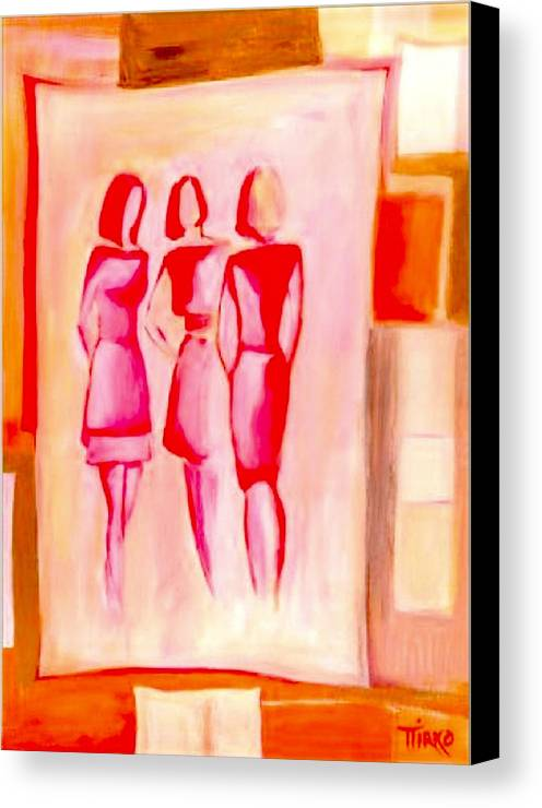 Girls Canvas Print featuring the painting Entre Nous by Mirko Gallery