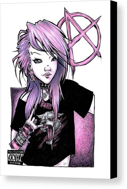 Punk Canvas Print featuring the drawing Explicit Living by Mirja Timm