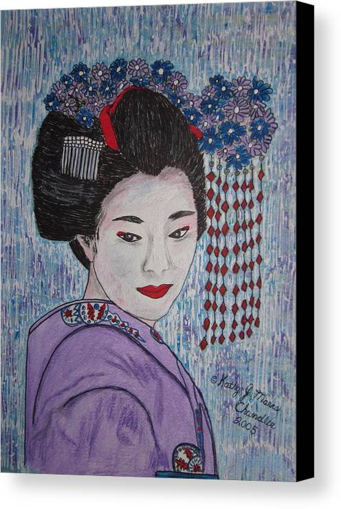 Oriental Canvas Print featuring the painting Geisha Girl by Kathy Marrs Chandler