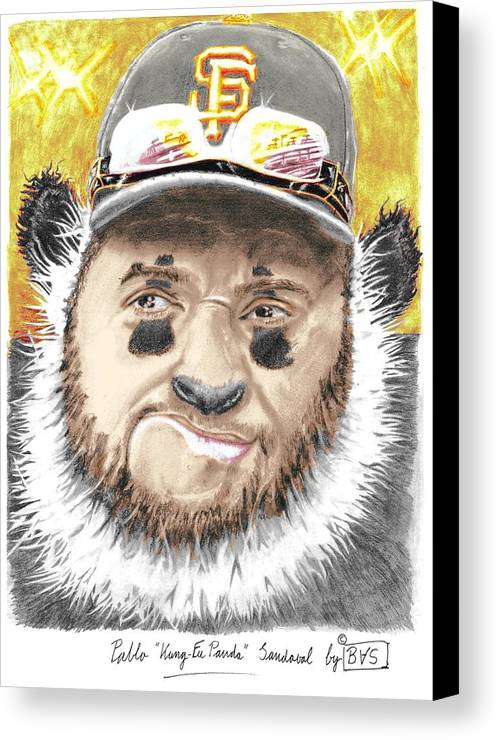 Pablo Canvas Print featuring the drawing Giant Panda by Bas Van Sloten